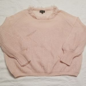 Dee Elly sweater balloon sleeves soft pink fuzzy n